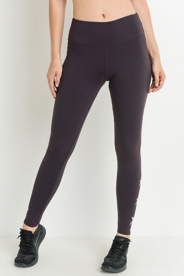 Triple Stars Full Leggings in Plum | Allure Apparel Co