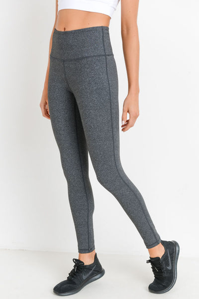 Performance High Waisted Essential Solid Leggings in Heather Grey | Allure Apparel Co