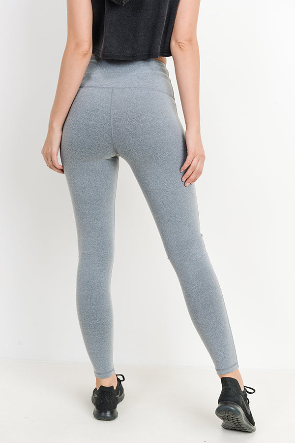 High Waisted Essential Grey Space Dye Leggings | Allure Apparel Co