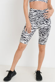 High Waisted Zebra Print Bermuda Active Shorts | Allure Apparel Co