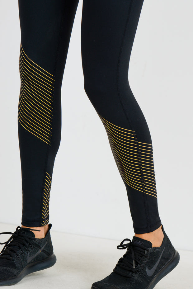 High Waisted Gold Blade Leggings | Allure Apparel Co