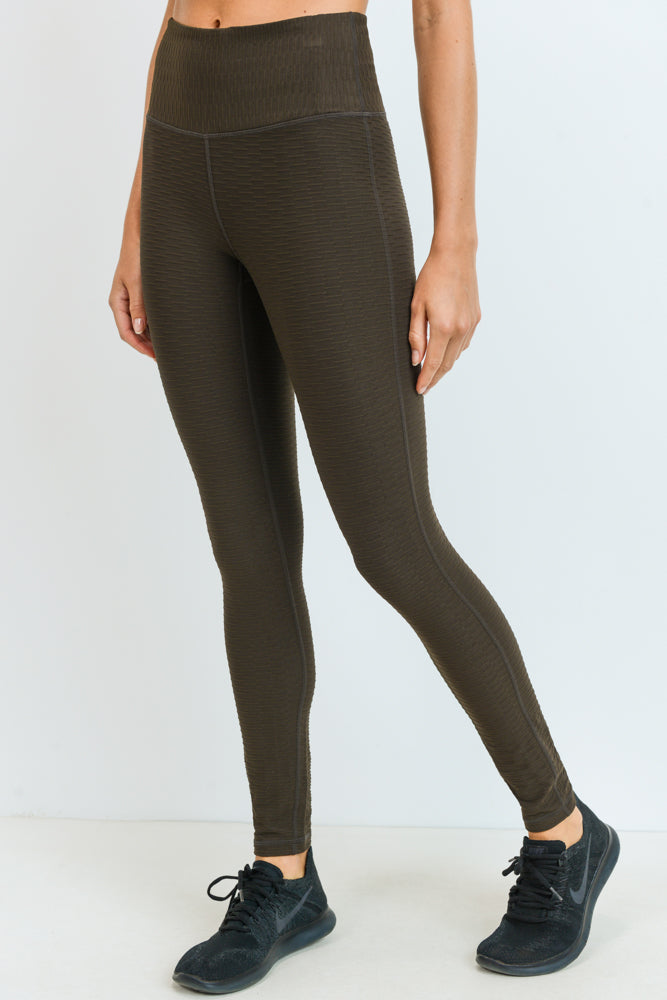 Textured Jacquard Lycra-Blend High Waisted Leggings in Coffee | Allure Apparel Co