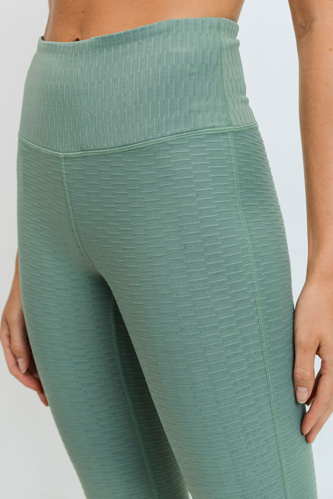 Textured Jacquard Lycra-Blend High Waisted Leggings in Dusty Green | Allure Apparel Co