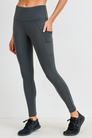 High Waist Side-Mesh & Slit Full Leggings in Kale | Allure Apparel Co