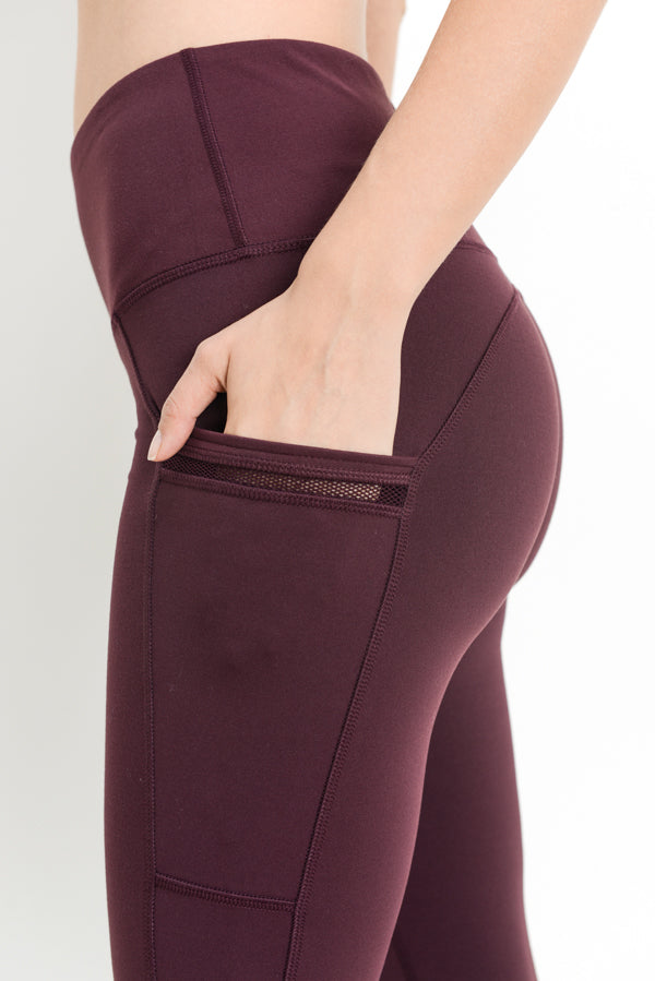 High Waist Side-Mesh & Slit Full Leggings in Plum | Allure Apparel Co