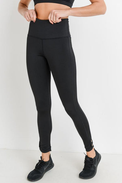 High Waist Double Button Full Leggings in Black | Allure Apparel Co