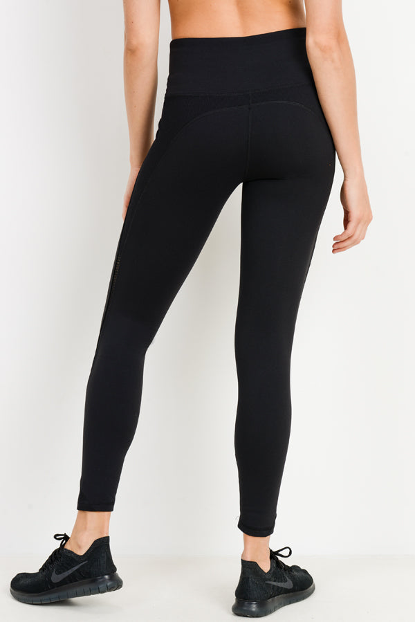 Ribbed & Smooth Zig-Zag Wraparound Perforated High Waisted Leggings in Black | Allure Apparel Co