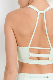 Knotted Outline Racerback Sports Bra in Mint | Allure Apparel Co