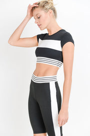 Color Block Striped Active Crop Top | Allure Apparel Co