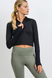 Ribbed & Smooth Combo Long Sleeve Crop Top in Black | Allure Apparel Co