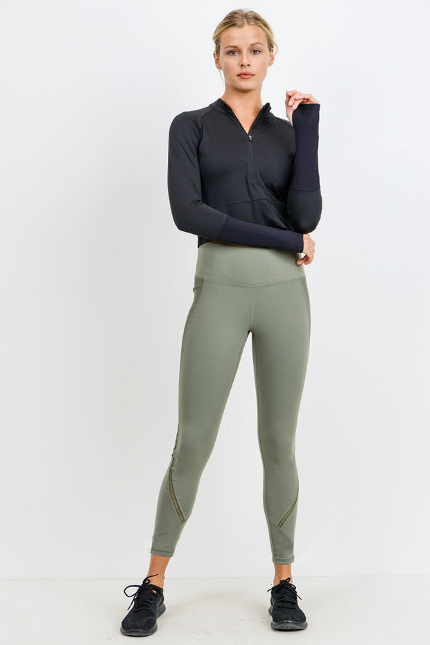 Ribbed & Smooth Zig-Zag Wraparound Perforated High Waisted Leggings in Grey Daze | Allure Apparel Co