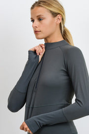 Ribbed & Smooth Combo Long Sleeve Crop Top in Kale | Allure Apparel Co