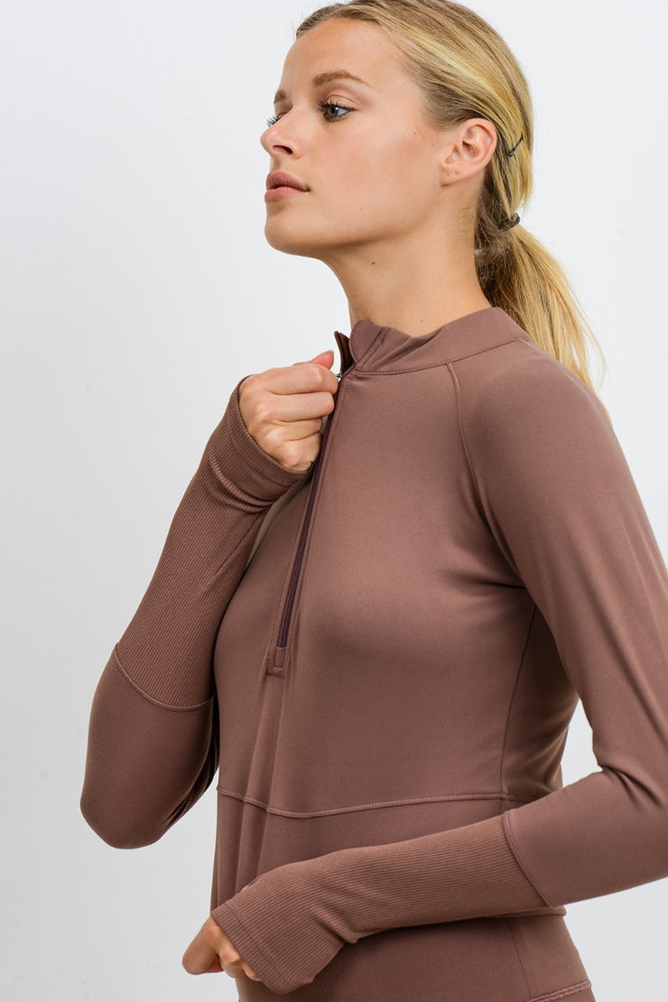 Ribbed & Smooth Combo Long Sleeve Crop Top in Walnut | Allure Apparel Co