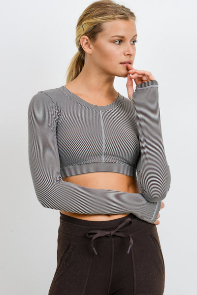 Micro Striped Crop Top with Long Sleeves | Allure Apparel Co