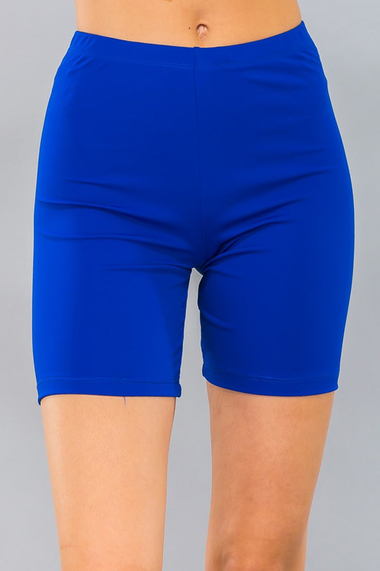 Basic Stretch Jersey Knit Bike Shorts in Neon Blue | Allure Apparel Co