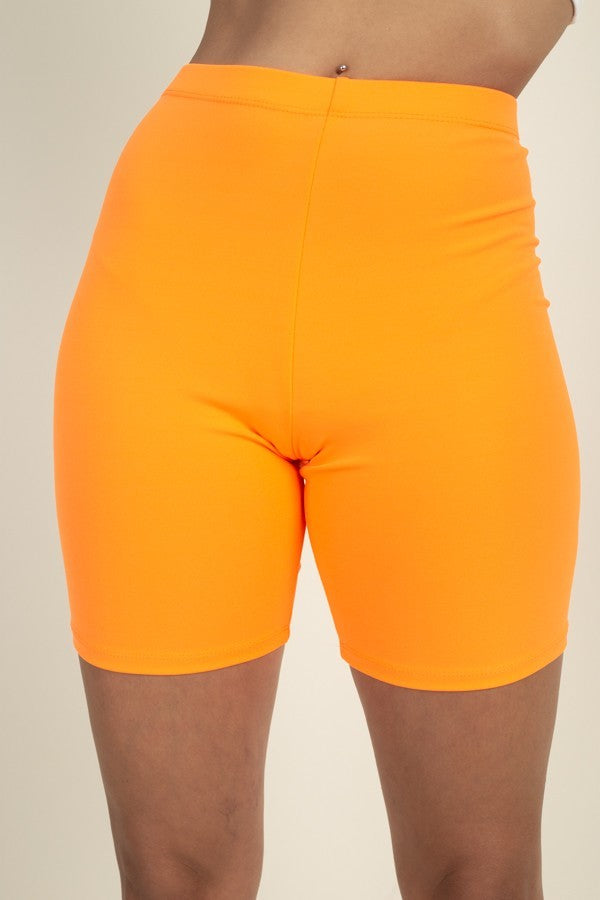 Basic Stretch Jersey Knit Bike Shorts in Neon Orange | Allure Apparel Co