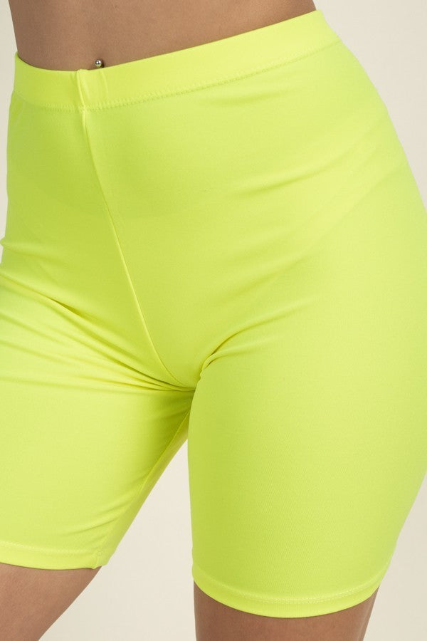 Basic Stretch Jersey Knit Bike Shorts in Neon Yellow | Allure Apparel Co