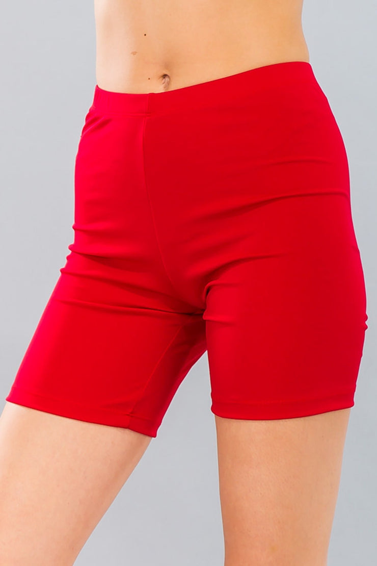 Basic Stretch Jersey Knit Bike Shorts in Red | Allure Apparel Co