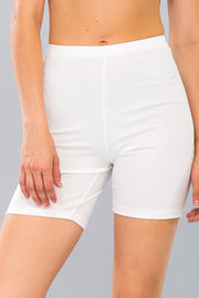Basic Stretch Jersey Knit Bike Shorts in White | Allure Apparel Co