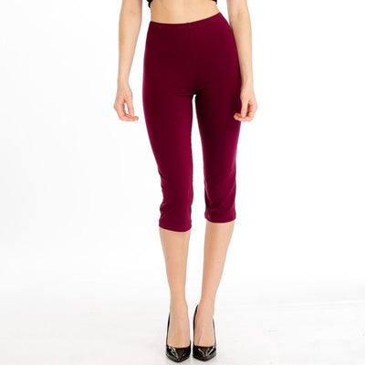 Basic Stretch Jersey Knit Solid Capri Leggings in Burgundy | Allure Apparel Co