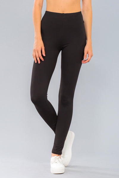 Basic Stretch Jersey Knit Solid Leggings in Black | Allure Apparel Co