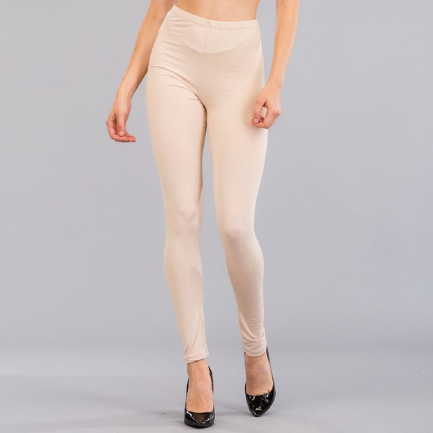 Basic Stretch Jersey Knit Solid Leggings in Khaki | Allure Apparel Co