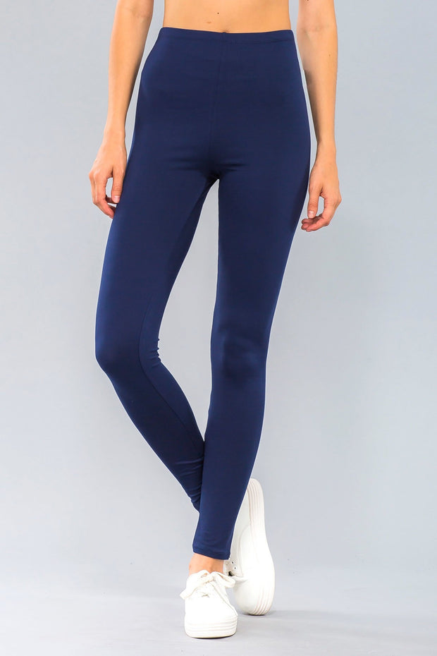Basic Stretch Jersey Knit Solid Leggings in Navy | Allure Apparel Co