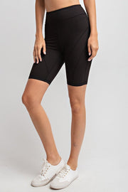 Detailed High-Rise Butter Biker Shorts in Black | Allure Apparel Co