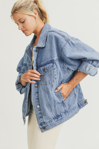 Boxy-Cut Denim Jacket in Medium Denim Blue | Allure Apparel Co