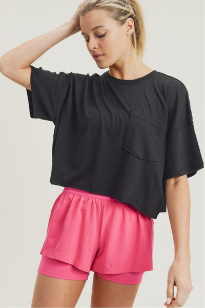 Boxy Flow Crop Athletic Leisure Top in Black | Allure Apparel Co