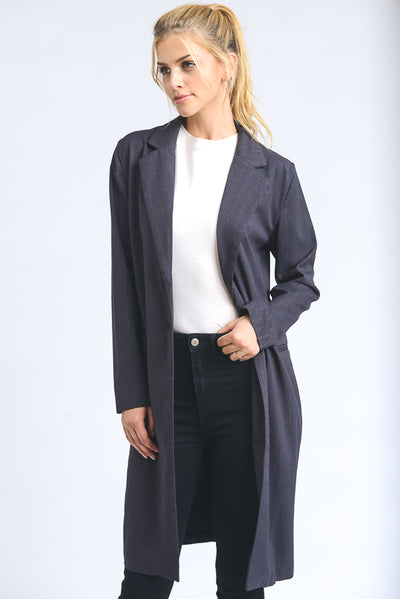 Boyfriend-Fit Open Coat in Charcoal | Allure Apparel Co