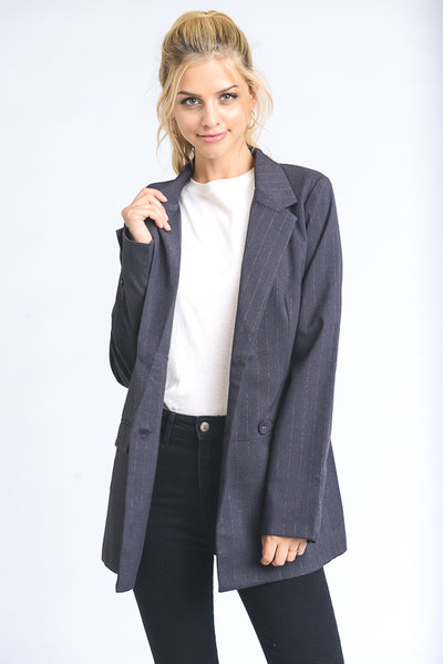 Boyfriend Midi Open Blazer in Charcoal | Allure Apparel Co