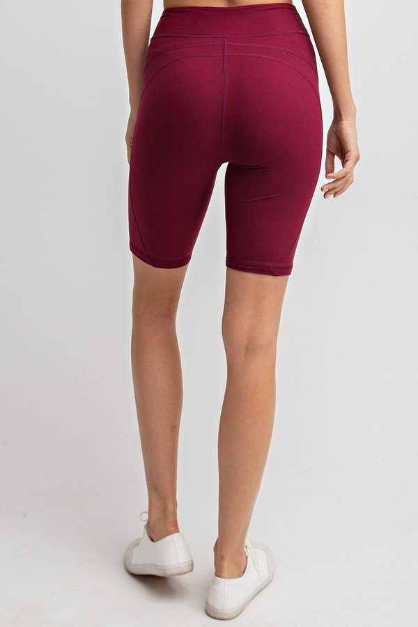 Detailed High-Rise Butter Biker Shorts in Burgundy | Allure Apparel Co