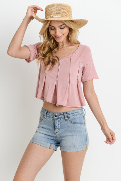 Burnout Short-Sleeve Crop Top in Dusty Pink | Allure Apparel Co