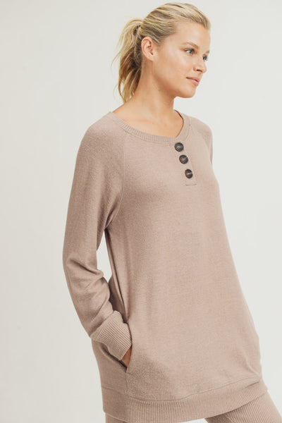 Buttoned Raglan Longline Pullover in Mushroom | Allure Apparel Co