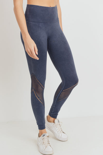 Chevron Perforation High Waisted Mineral Seamless Leggings in Black | Allure Apparel Co