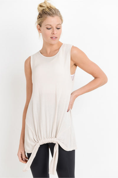 Cinch Front Longline Sleeveless Top in Blush | Allure Apparel Co