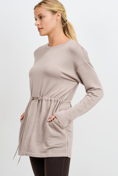 Cinched Hip Long Sleeve Resort Top in Almond | Allure Apparel Co