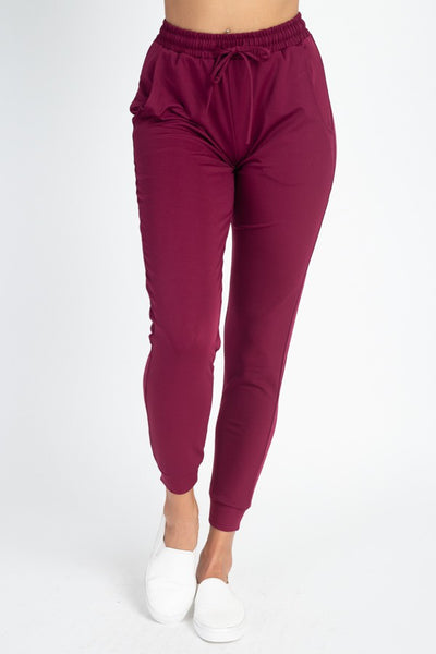 Classic Drawstring Joggers in Burgundy | Allure Apparel Co
