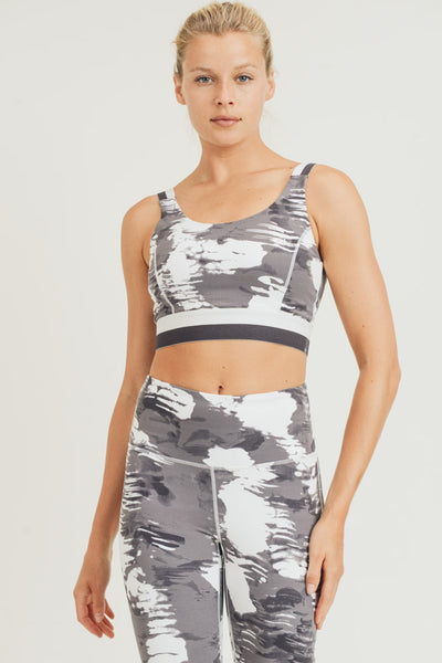 Cloud Print Sports Bra in Grey/White | Allure Apparel Co