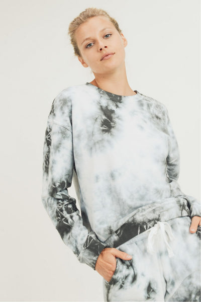 Clouds Tie-Dye Cotton Terry Pullover in Dark Green/White | Allure Apparel Co