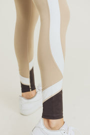 Color Block Curve High Waisted Leggings in Oak | Allure Apparel Co