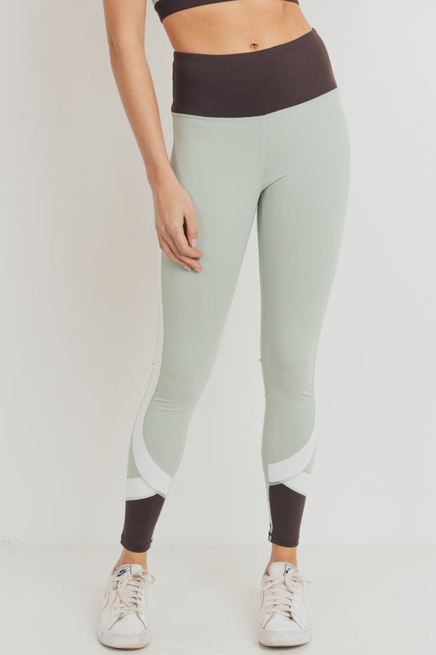 Color Block Curve High Waisted Leggings in Sage | Allure Apparel Co