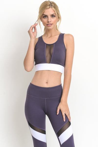 Color Block Mesh Sports Bra in Dark Violet | Allure Apparel Co