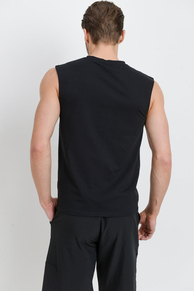 Cool Touch Athletic Muscle Tank Cut-Off Top in Black | Allure Apparel Co