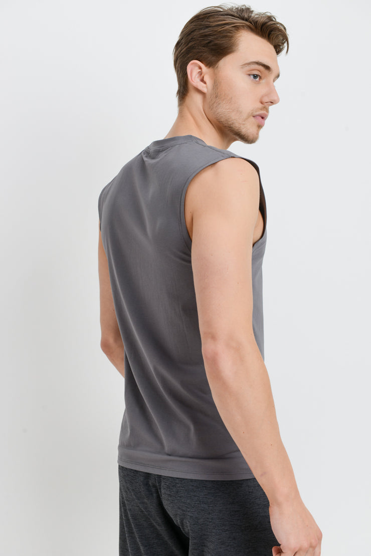Cool Touch Athletic Muscle Tank Cut-Off Top in Light Grey | Allure Apparel Co