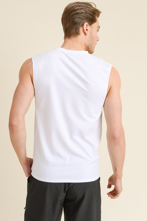 Cool Touch Athletic Muscle Tank Cut-Off Top in White | Allure Apparel Co