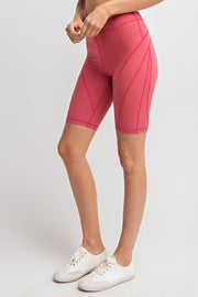 Detailed High-Rise Butter Biker Shorts in Coral | Allure Apparel Co