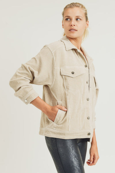 Corduroy Boyfriend Jacket in Natural | Allure Apparel Co