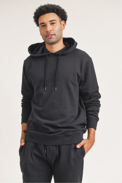 Cotton Terry Essential Hoodie Pullover in Black | Allure Apparel Co